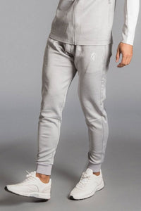 Gym King Capo Panel Poly Tracksuit Bottoms - Grey Marl/White - XL