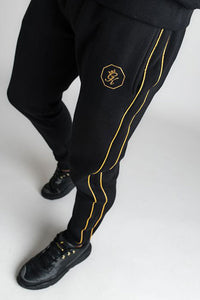 Gym King Exclusive Fight Division Octagon Fleece Tracksuit Bottoms - Black/Gold - Small