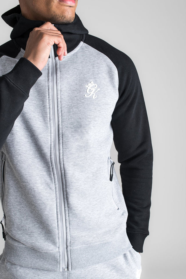 Gym King Basis Contrast Raglan Hoodie - Black / Grey