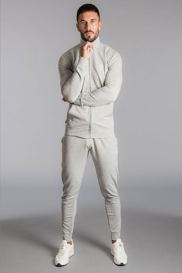 Gym King Charmer Funnel Neck Track top - Grey Pinstripe