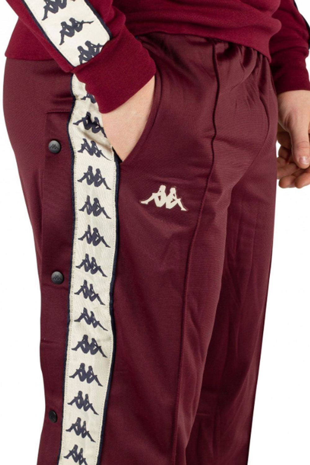 Kappa Authentic Astoria Snap Pants - Dark Red Damson/ Light Beige