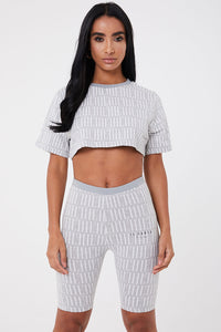 Il Sarto Lucia Repeat Cropped Tee - Grey/White