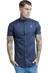 SikSilk Racer Back Grandad Collar Shirt - Blue