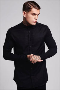 SikSilk Grandad Collar Jersey Sleeve Fitted Shirt - Black