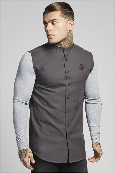 SikSilk Contrast Long Sleeve Oxford Shirt – Grey & Grey Marl