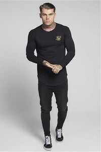 SikSilk Long Sleeve Gym Tee –  Black & Gold