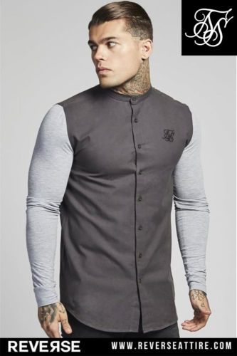 SikSilk Contrast Long Sleeve Oxford Shirt – Grey & Grey Marl - XS