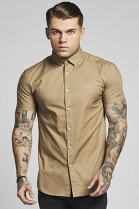 SikSilk  S/S Cotton Stretch Shirt – Light Beige