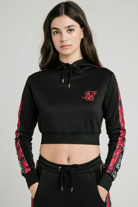 SikSilk Rose Panel Poly Cropped Hoodie - Black
