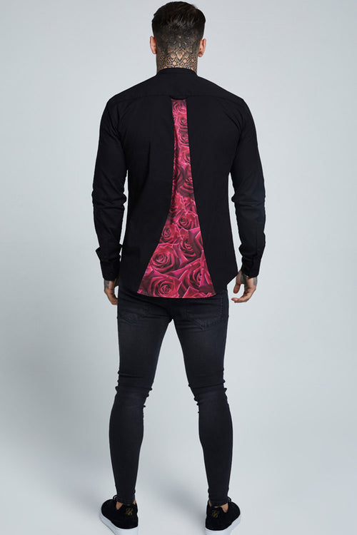 SikSilk Rose Racer Back Oxford Shirt – Rose & Black