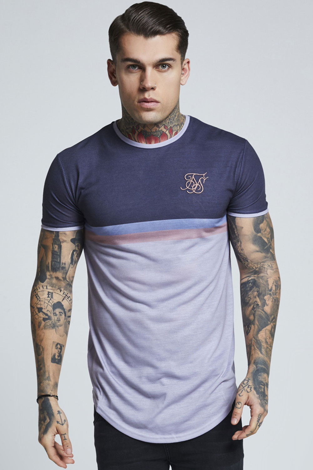 SikSilk S/S Curved Hem Poly Sports Tee – Slate & Grey