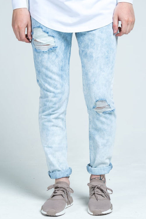 SikSilk Vintage Acid Wash Denims - Light Blue