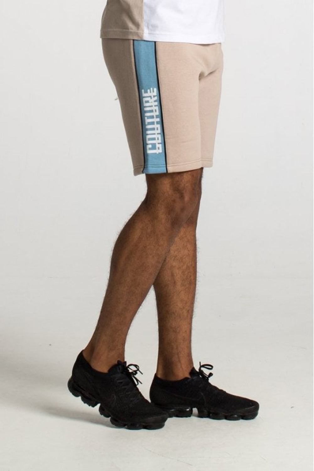 Fresh Couture Miami Cut And Sew Shorts - Tan/Sky