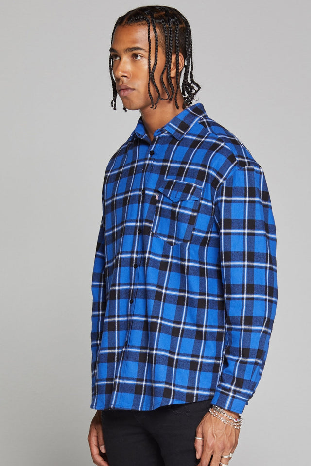 Good For Nothing Oversized Check Shirt - Blue
