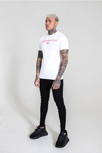 Good For Nothing Neon Branding Tee - White / Neon Pink