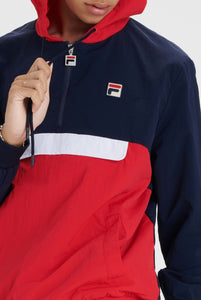 FILA Macker 2 Colour block pullover Hoodie - Peacoat / Red / White