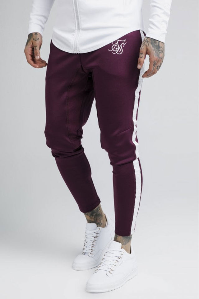 SikSilk  Athlete Taped Pants – Burgundy