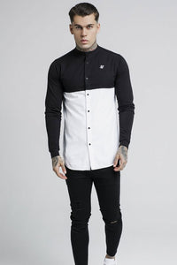 SikSilk Cut and Sew  L/S Granddad Collar Shirt - Black & White