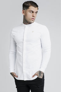 SikSilk Long Sleeve Grandad Shirt - White