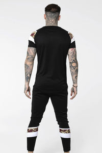 SikSilk Royal Venetian Sprint Tee - Black & Deep Red