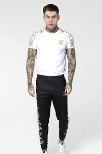 SikSilk S/S Raglan Gym Tee - White & Gold