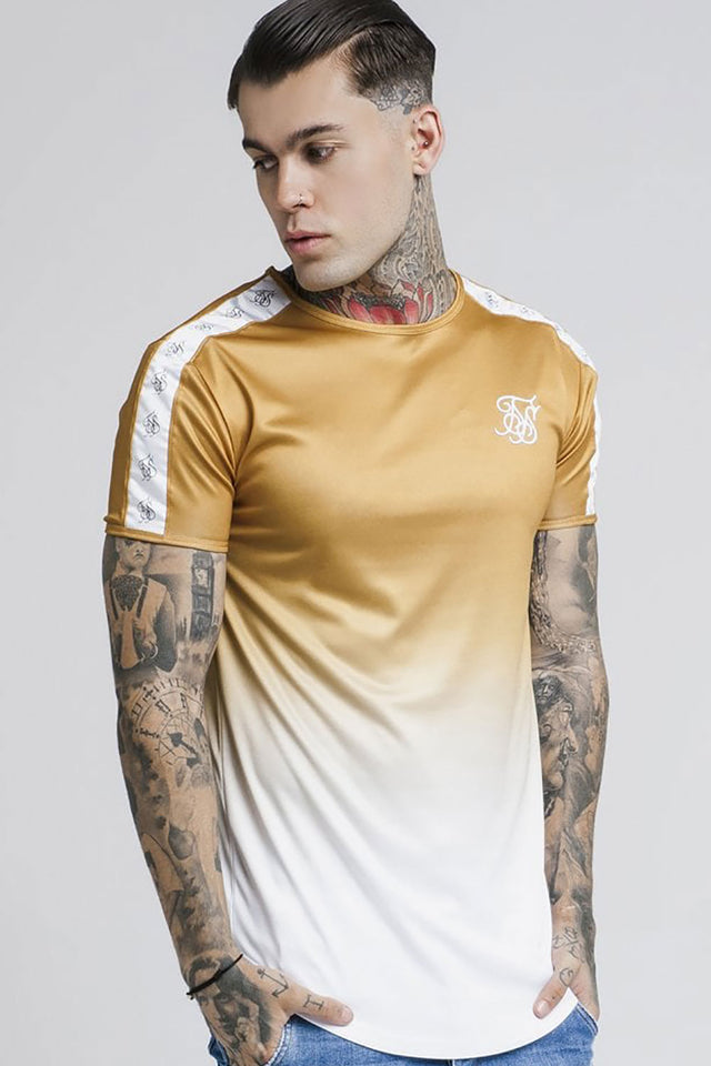 SikSilk Short sleeve Taped Fade Gym Tee - Gold Mustard