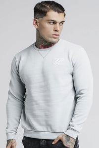 SikSilk Straight Hem Crew Sweater - Light Grey