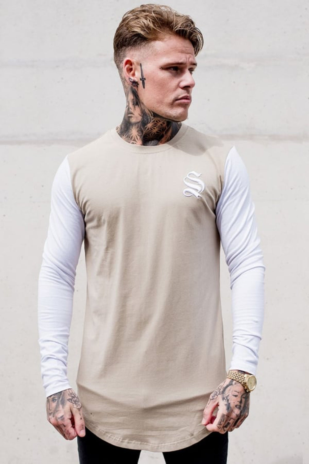 Sinners Attire SNRS L/S Muscle Tee - Sand/White