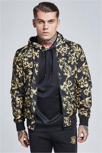 SikSilk Reversible Bomber – Black & Gold Venetian