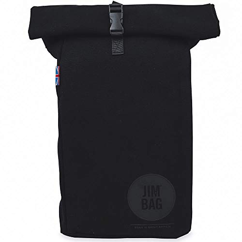 JIMBAG Travel Fitness Gym Rolltop Outdoor Waterproof Backpack Bag Fits Laptop (Black)