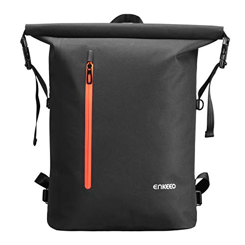 ENKEEO Waterproof Backpack 26L Business Rucksack TPU IPX 5 Waterproof Roll Top Casual School Daypack Travel Bag For Men & Women
