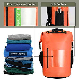 MIER 100% Waterproof Dry Backpack Roll Top Dry Bag Floating Backpack, Easy Access for Boating, Swimming, Kayaking, Surfing, Fishing, Camping,30L,Orange