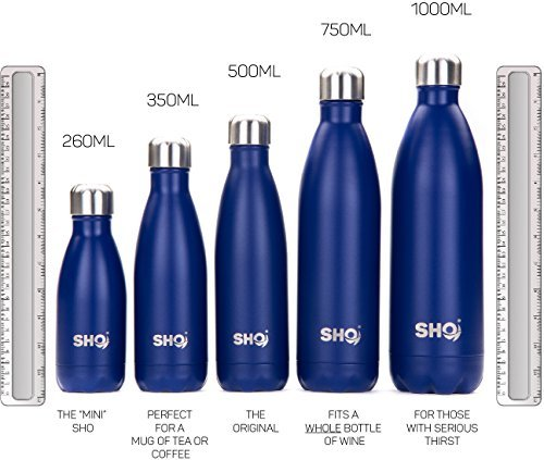 SHO BOTTLE - Ultimate Insulated, Double Walled Stainless Steel Water Bottle - BPA Free - Lifetime Guarantee