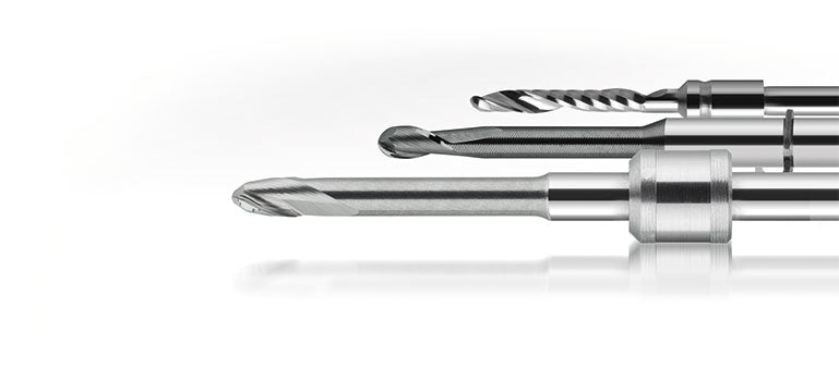 Dental milling burs compatible with CAD/CAM systems like Amann Girrbach, vhf and Roland.