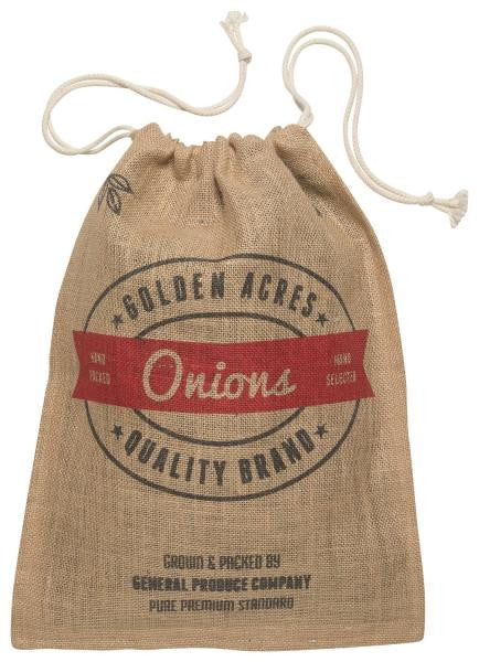 Onion Sack with Drawstring Closure / Natural - Red
