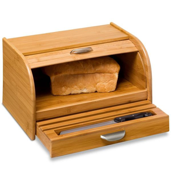 Bread Box with Pullout Drawer / Bamboo
