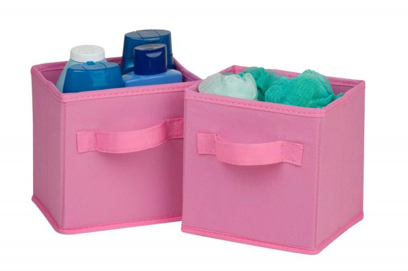 Soft Fabric Storage Bin / Pink - Mini - Set of 2