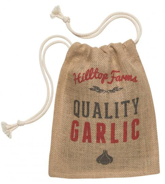 Garlic Sack with Drawstring Closure / Natural - Red
