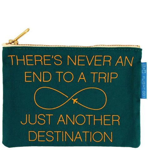 """Another Destination"" Canvas Accessory Pouch / Green - Organge"