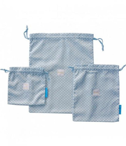 """Bits & Pieces"" Travel Bags with Drawstring Closure / Blue - White - Set of 3"