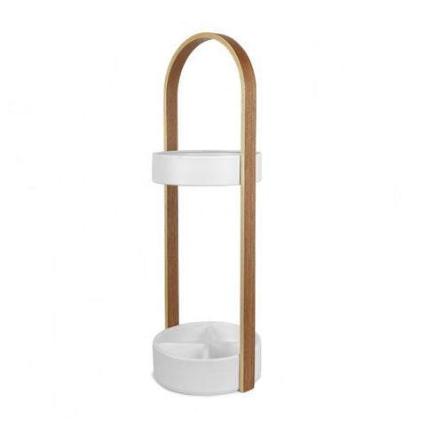 Hub Umbrella Stand / White - Natural
