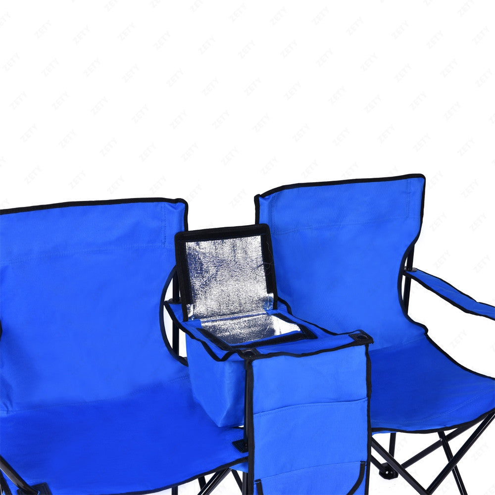 Camping chairs with umbrella -  Portable Picnic Double Beach Camping Chair Folding W Umbrella Table Cooler Blue