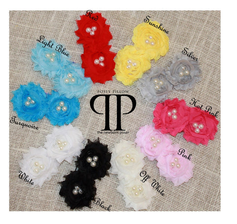 Double Tri-Pearl Shabby Chiffon Headband ~ newborn photo props