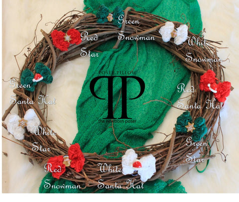 Holiday Flower Bow Headband ~ Newborn photo prop