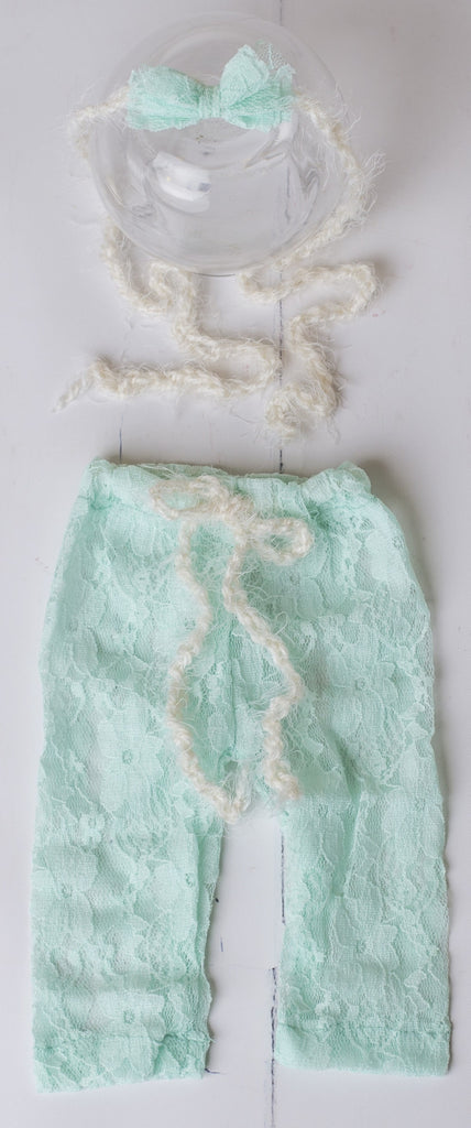 Lace Pant Set with Tie Back ~ Newborn photo prop