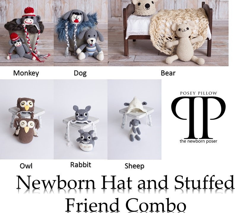 Newborn Hat & Stuffed Friend Combo ~ Newborn photo prop