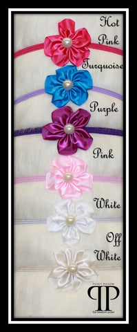 Pearl Viola Blossom Headband ~ Newborn photo prop