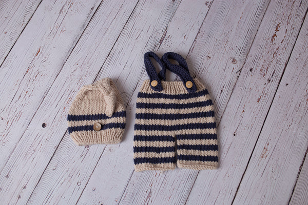 crochet overalls and hat newborn prop
