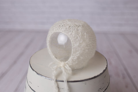 White mohair bonnet photo prop