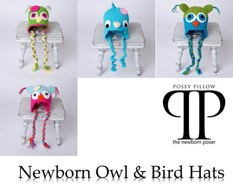 Owls and bird Style Newborn Hats ~ Newborn photo prop